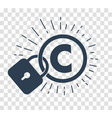 silhouette icon of protection of copyright vector image vector image