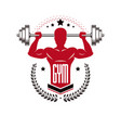 sport logo for weightlifting gym and fitness club vector image vector image