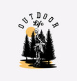t shirt design outdoor life with hiking skeleton vector image vector image