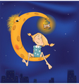 The girl and the moon cartoon vector image