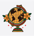traditional flash globe tattoo vector image