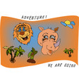 travel kids cartoon with a lion rhino and palm vector image