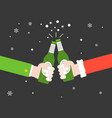 two hands toasting beer bottle cheers flat design vector image