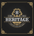 vintage luxury monogram banner template design vector image vector image
