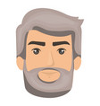 white background of man face with hair and beard vector image