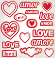 red heart with text i love you and shadow valentin vector image