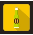 Full green beer bottle icon flat style vector image
