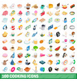 100 cooking icons set isometric 3d style vector image vector image