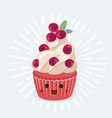 a cupcake on white background vector image vector image
