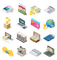 accounting isometric icons set vector image vector image