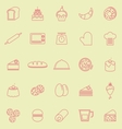 Bakery line color icons on yellow background vector image vector image