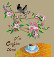 banner spring leaves blooming cherry blossom coff vector image vector image