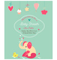 bashower cute invitation and with elephant and vector image vector image