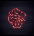 cake neon logo bakery cupcake dessert neon vector image vector image