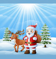cartoon santa claus and deer standing in the snow vector image vector image