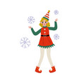 christmas elf character playing with snowflakes vector image vector image