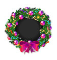 christmas wreath 2019 with pink bow vector image vector image