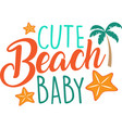 cute beach baby on white background vector image vector image