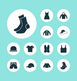 dress icons set collection of waistcoat trunks vector image vector image