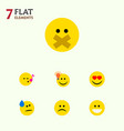 flat icon emoji set of hush tears grin and other vector image vector image