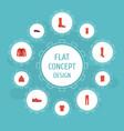 flat icons gumshoes man footwear hosiery and vector image