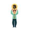 flat young businessman holding bitcoin vector image vector image