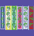 floral ornamental bookmark folk petrykiva style vector image
