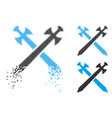 fractured pixelated halftone medieval swords icon vector image