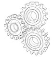 gear wheel rendering of 3d wire-frame vector image vector image