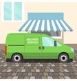 Green delivery Van vector image vector image