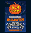 halloween party invitation with scary pumpkin vector image