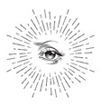 hand-drawn eye of providence masonic symbol vector image vector image