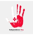 Handprint with the Flag of Tonga in grunge style vector image vector image