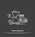 hourglass management money time coins icon line vector image