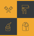 icon set with brush vector image