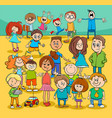 kids and teenagers cartoon characters group vector image