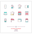 Kitchen Equipment Line Icons Set vector image vector image