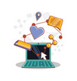 laptop computer with social media set icons vector image vector image