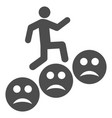 man steps sad smiles flat icon vector image