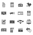 Mass media black icons set vector image