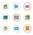 multimedia icons colored line set with albums vector image