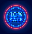 neon 10 sale text banner night sign vector image