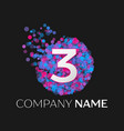 number three logo with blue purple particles vector image vector image