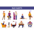 people bad habits and behavior icons vector image