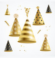 realistic detailed 3d gold hat party holiday vector image vector image