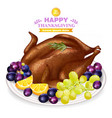 roasted turkey and fruits on white plate vector image