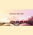 romantic train trip background vector image vector image