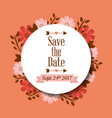 save the date greeting card floral label vector image vector image