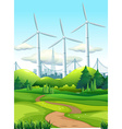 Scene with wind towers in the park vector image vector image