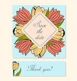 set of cards with tulip floral motifs vector image vector image